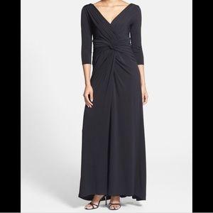Tadashi Shoji Twist Front Jersey V-Neck Gown- L